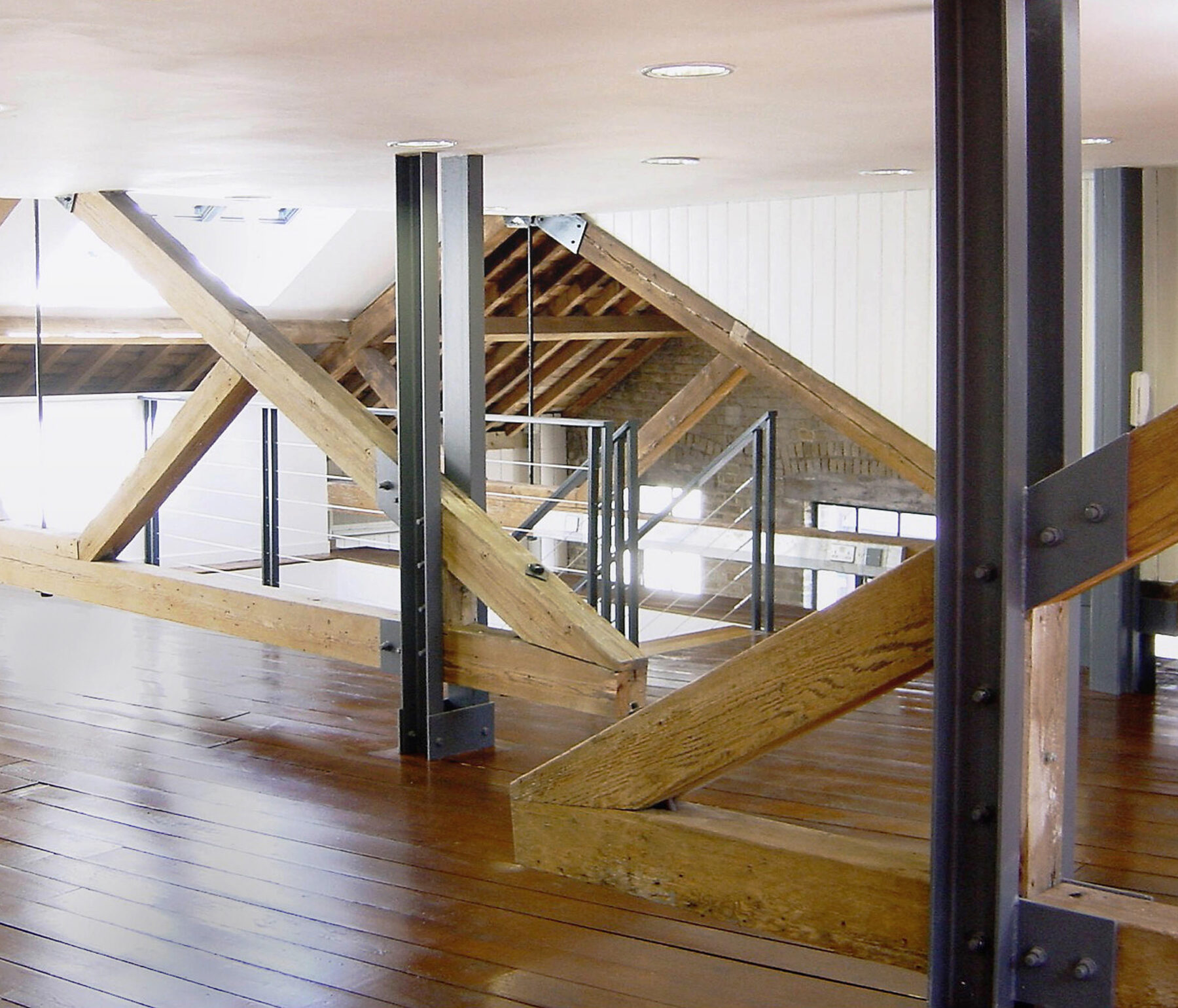 50-52 Commercial Street 01 Internal Roof Extension Exposed truss Conservation