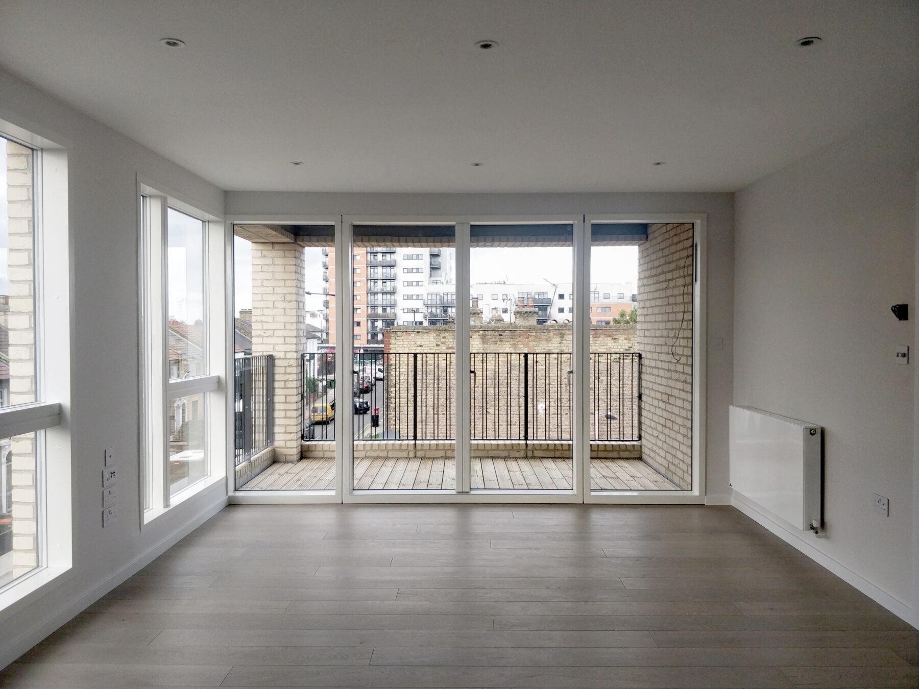 Water Lane Residential New Build Community Living Room Balcony Brick