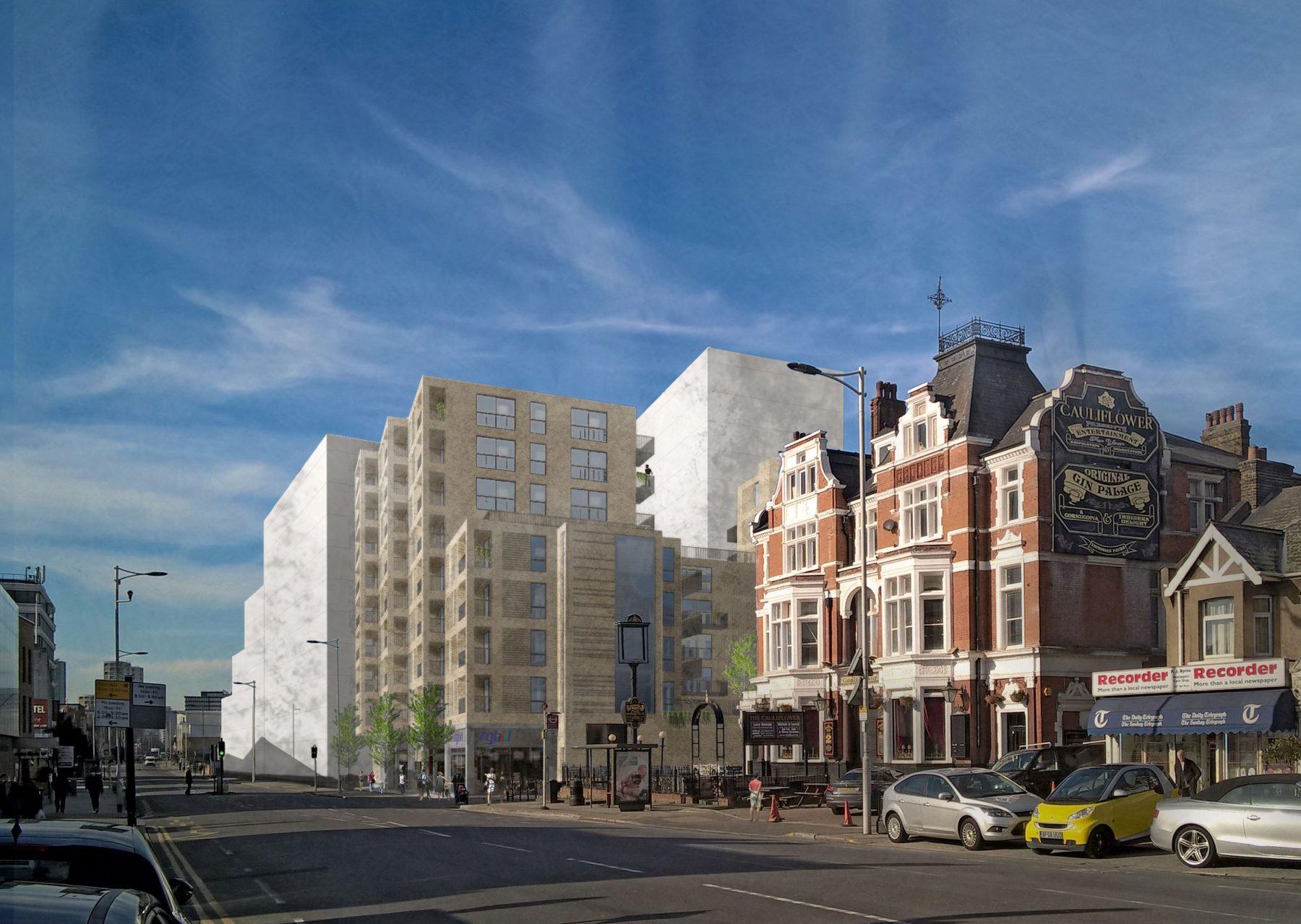High Road 02 3D Visualisation Residential Housing Brick RGB Cauliflower NewLondonVernacular