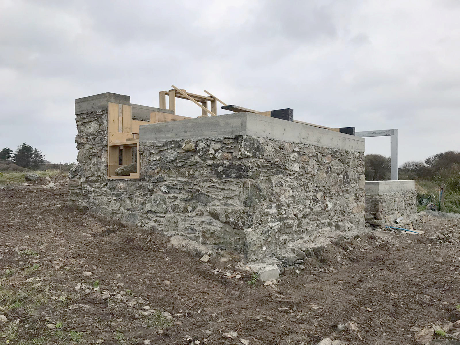 Pwll clai barn conservation construction south elevation